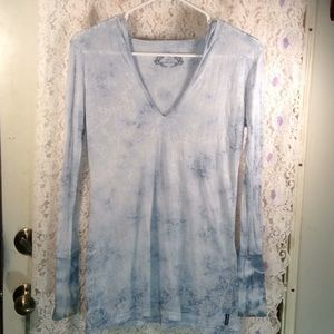 Sheer two tone blue Prana hoody top